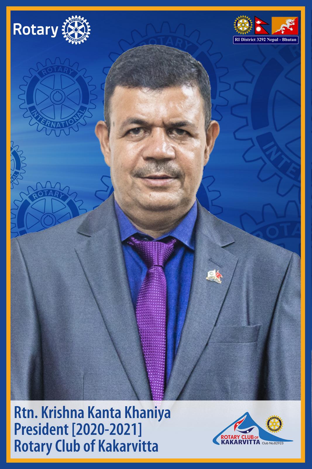 rtn. krishna kanta khaniya president 2020 21 rotary club of kakarvitta